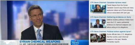 CTV interview with Jacqueline Milczarek about the use of chemical weapons in Syria, 26 April 2013