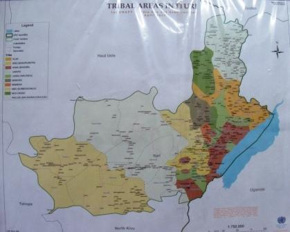 map of tribal areas in Bunia as UN tries to keep the peace between them