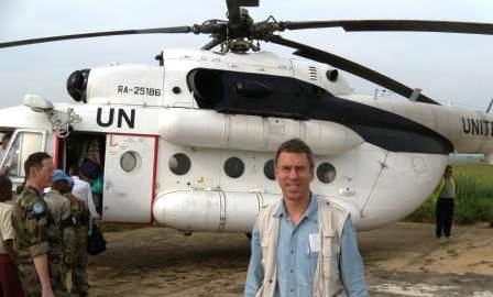 Boarding a UN helicopter to visit Dungu in Gamamba National Park, where a large Uguandan-DRC-UN operation was being undertaken to find the Lord's Resistance Army (LRA), which has still creating havoc in the northeastern DRC and its neighbours