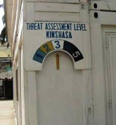 sign with threat level in Kinshasa